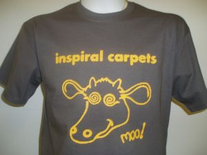 MENS INSPIRAL CARPETS `MOO !` T-SHIRT